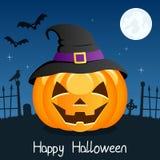 Potiron heureux de Halloween avec le chapeau sur le bleu Photos libres de droits