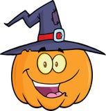 Potiron heureux de Halloween avec un chapeau de sorcière Images stock