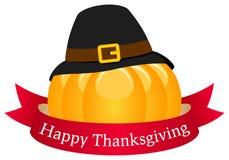 Potiron heureux de thanksgiving avec le ruban Images libres de droits