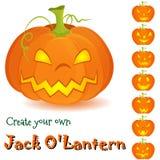 Potiron Jack O'Lantern de Halloween réglé dessus Images libres de droits
