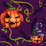 Potiron orange de modèle sans couture dans un chapeau, batte Visage sinistre sur le fond pourpre Cauchemar d'horreur de Halloween illustration libre de droits