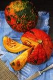 Potiron orange Hokkaido sur une serviette de toile bleue images libres de droits