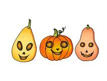 Potiron plat d'émotion de Halloween d'icônes d'Assemblée illustration stock