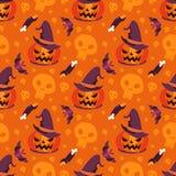 Potiron sans couture de sorcellerie de Halloween de vecteur de modèle Photographie stock libre de droits