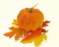 Potiron sur la pile des lames d'automne Photos libres de droits