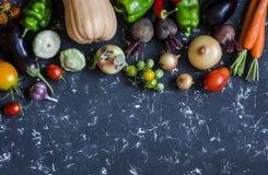 Potiron végétal de récolte d'automne, aubergine, poivrons, carottes, tomates, oignons, ail, betteraves sur un fond foncé, vue sup Photos stock