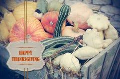 Potirons avec l'étiquette heureuse de papier de thanksgiving Images stock