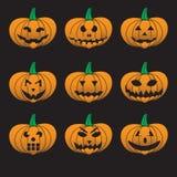 Potirons découpés par Halloween oranges réglés Photographie stock libre de droits