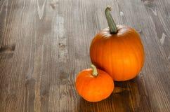 Potirons d'automne sur le panneau en bois Image libre de droits