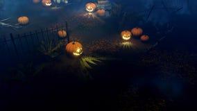 Potirons de Halloween au cimetière effrayant 4K de nuit clips vidéos