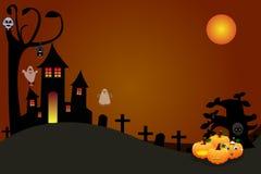 Potirons de Halloween avec un château de démon de crâne Photo libre de droits