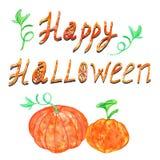 Potirons de Halloween d'aquarelle sur le fond blanc Carte heureuse de Halloween pour saluer, décoration illustration de vecteur