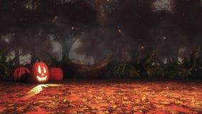 Potirons de Halloween dans la forêt d'automne la nuit brumeux illustration libre de droits