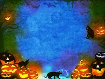 Potirons de Halloween et chats noirs - texture orange bleue Images stock