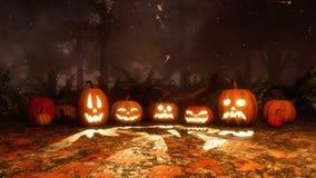 potirons de Jack-o-lanterne et lumières magiques la nuit illustration libre de droits