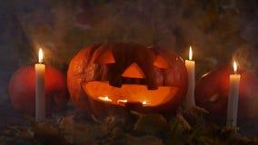 Potirons et bougies dans la fumée Concept de Veille de la toussaint banque de vidéos