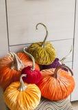 Potirons faits maison pour Halloween Potirons exclusifs de concepteur pour décorer les vacances de Halloween Potirons faits de ve Photographie stock libre de droits