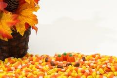 Potirons Halloween de bonbons au maïs Photographie stock libre de droits