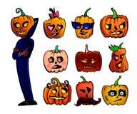 Potirons mignons de bande dessinée de Halloween réglés Images stock