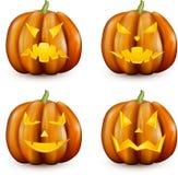 Potirons oranges de 3d Halloween réglés illustration de vecteur