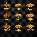 Potirons oranges de 3d Halloween réglés Image stock