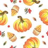 Potirons, petits pains et modèle sans couture ashberry illustration libre de droits