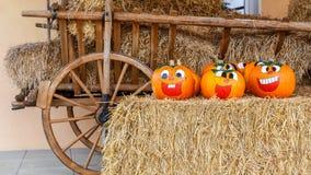 Potirons riants de Halloween Image stock