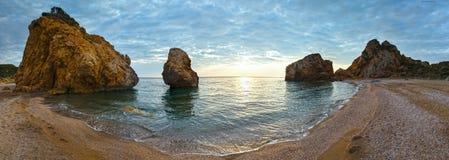 Potistika beach sunrise panorama (Greece) Stock Images