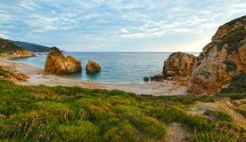 Potistika beach sunrise view (Greece) Royalty Free Stock Photography