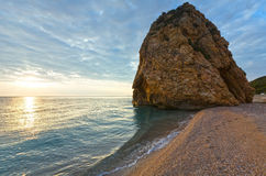 Potistika beach sunrise view (Greece) Royalty Free Stock Photos