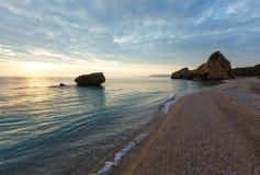 Potistika beach sunrise view (Greece) Royalty Free Stock Images