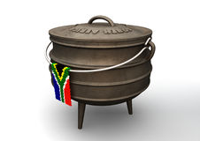 Potjie Pot With Zulu Bead South African Flag Royalty Free Stock Image