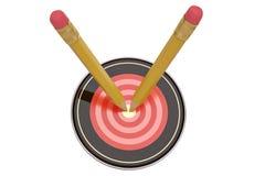 Potloden aan centrum van doel worden gericht dat 3D Illustratie stock illustratie