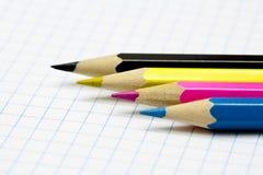 Potloden. CMYK royalty-vrije stock afbeeldingen