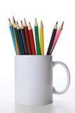 Potloden in de Witte kop Stock Afbeelding