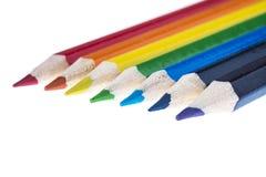 Potloden die de kleuren van de regenboog tonen Royalty-vrije Stock Afbeeldingen