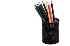 Potloden in een zwart glas Royalty-vrije Stock Fotografie