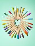Potloden en hart 2 Stock Afbeelding