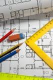 Potloden en plannen Stock Afbeelding