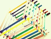Potloden in logboekhuis dat worden gestapeld stock fotografie