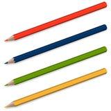 4 potloden met schaduw Stock Afbeeldingen