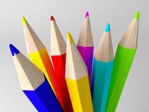 Potloden in verschillende kleuren worden geschilderd die Stock Afbeelding