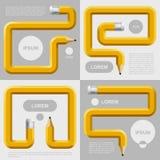 Potloden in verschillende vormen met plaatsen voor tekst die op grijs worden gebogen Stock Afbeelding