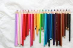 Potloden voor tekening, Oude Uitstekende kleurpotloden royalty-vrije stock foto