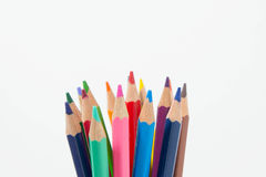 Potlodenkleur op witte achtergrond, de groep van de potlodenkleur Royalty-vrije Stock Fotografie