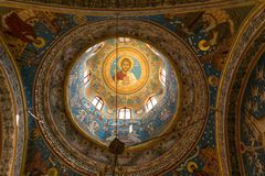 Potlogi, Romania - August 12, 2018: Detail of Dome interior paiting of Saint Dimitrie Orthodox Church build in 1683 by voivode Con. Stantin Brincoveanu at stock photography