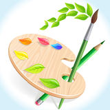 Potlood, borstel en kleurenpallet Stock Fotografie