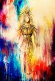 Potlood die op document, Indische vrouw en veren en pijl in haar trekken Kleureneffect stock illustratie