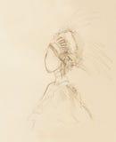 Potlood die op document, Indische vrouw en veren in haar trekken vector illustratie