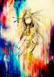 Potlood die op document, Indische vrouw en veren in haar trekken Kleureneffect vector illustratie